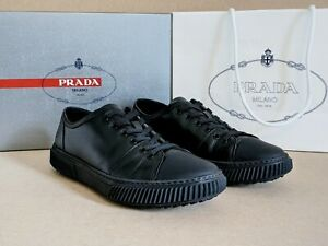 Prada Vitello Plume black sneakers calf leather UK 9