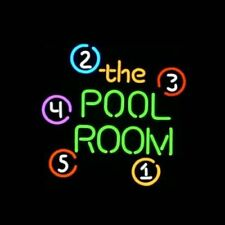 "New THE POOL ROOM Billiards Game Room Beer Light Neon Sign 17""x14"""