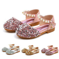 Toddler Kids Baby Girls Pearl Bling Sequins Single Princess Shoes Sandals DZ