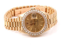 Original Rolex Ladies 18K Gold Bark President - Champagne Dial - Diamond Bezel