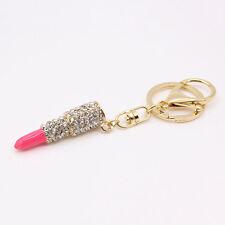 Rhinestone Charm Purse Key Chain Rings Lipstick Crystal Keyring Car Bag Pendant