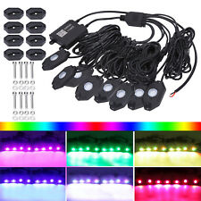 8 Pods RGB LED Rock Lights Kits for Jeep Off Road Truck Car Underbody Boat ATV