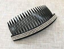 Diamante Hair Comb Slide in Black Plastic 11 cms Long