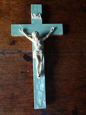 "Vintage Blue Celluloid on Wood INRI Crucifix Cross 10""x 5"" Jesus Christ"