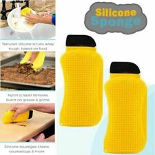 Silicone Cleaning Brush Scrub Scrapes Squeegees Dispenser Sponge Hero 3-In-1 New