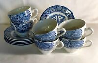 6 Staffordshire Liberty Blue Cups And Saucers
