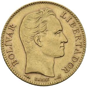 ☆ ☆ VENEZUELA 1904 ☆ 20 BOLIVARES • GOLD 0.900 • PARIS ☆ 21 mm • KM# Y#32 ☆C5857