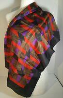 """Womens Vintage Bill Blass 100% Silk Scarf Red Blue Tan Black Trim 31""""x 31.5"""""""