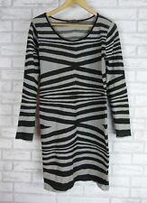 CHARLIE BROWN Dress Sz 10/12? Black, Grey stripe