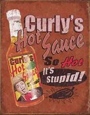 Curlys Hot Salsa Sauce USA Retro Design Metall Deko Plakat