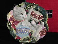 """Fitz and Floyd Kristmas Kitty Canape Plate Original Box 9"""" Adorable Great Gift"""