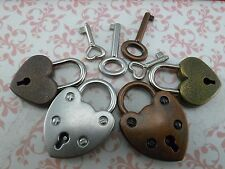 Vintage Style Mini Padlock Key Lock Heart Shaped (Assorted color) Lot of 4
