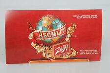 Original Old Schlitz Beer Globe Cash Register Sign Dealer Advertising Card Card