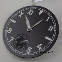 38.9mm Black Watch Dial Luminous Pointer Fit For ETA 6498 Hand Winding Movement