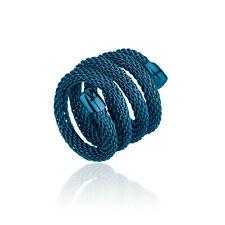Anello Breil New Snake acciaio lucido IP Blue modellabile cm.20 Ref. TJ2787