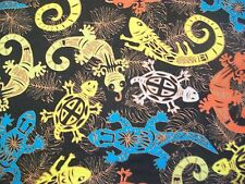 Lizards Snuggle Flannel Fabric - BTY - Yellow Blue Orange White on Black