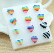 3 Pair Heart-shaped Rainbow Flag LGBT Pride Charm earring Resin Weave Plaited ga