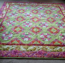 "Handmade Patchwork Quilt. Floral Fantasy. 80"" X 80""."