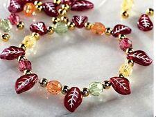 1 Fall Leaves Enamel Charm Bead Bracelet Kit  Leaf