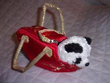 "Aurora Panda Bear China Red Fabric Carrier 7"" Plush Soft Toy Stuffed Animal"