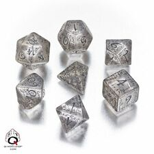 Q-workshop 7 Dice Set of Translucent & Black Elven Dice SELV10
