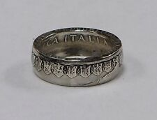 """Silver Coin ring """"Handmade"""" from 500 LIRE ITALIAN COIN in size 9-14 from Italy"""