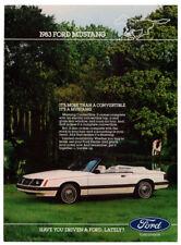 1983 FORD Mustang Convertible Vintage Original Print AD - White car photo Canada