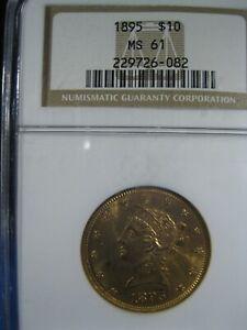 1895 GOLD $10 EAGLE NGC MS 61