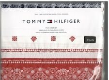 Tommy Hilfiger Bandana Scarf Red White Twin Sheet Set 3 Pieces New