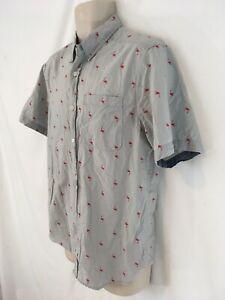 Carbon Classic Fit Mens M Red Flamingo Print Indian Cotton Short Sleeve Shirt