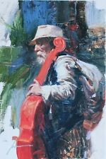 """Pino """"The Red Viola"""" Musical Hand Signed/# Giclee Canvas pcoa ed. 500 size 18x12"""