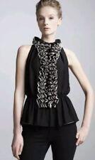 Robert Rodriguez Target Women's Top Blouse Size M Black Tan Sleeveless Ruffle