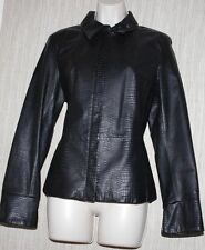 APOSTROPHE BLACK TEXTURE LEATHER ZIP MOTORCYCLE JACKET BLAZER WOMEN SIZE:10