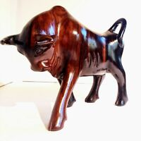 Vintage Ironwood Hand Carved Wooden Bull Statue Statuette Figure Figurine Wood