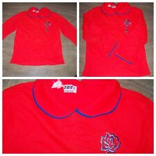 Vintage 70's Sears Roebuck Red & Blue Peter Pan Collared Rose Girl Youth Top 6