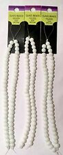 """""""3 Pack"""" of White Glass Bead Strands.  Small Round Beads (12 In.)"""