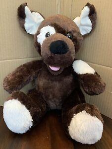 Build A Bear BAB Stuffed Animal Puppy Dog Plush Dark Brown White Spot Eye