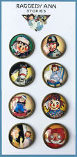 "Set of 8 RAGGEDY ANN Glass DOME STUDIO BUTTONS from VINTAGE BOOK ART 7/8"" Button"