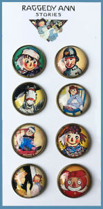 """Set of 8 RAGGEDY ANN Glass DOME STUDIO BUTTONS from VINTAGE BOOK ART 7/8"""" Button"""