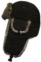 Black Faux Fur Trapper Men's Hat