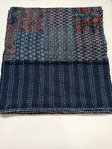 Handmade Hand Block Ajrakh Print Kantha Quilt Bedspread King Size Throw Blanket