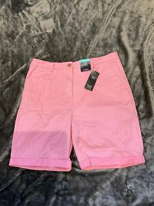 M&S Ladies Cotton shorts BNWT Size 14 Pink With white Stripe