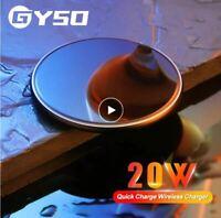 20W Chargeur sans Fil à Induction QI LED Iphone 11/8/X/XS/XR Samsung S8/S9/S10