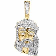 "Unisex 10K Yellow Gold Genuine Diamond Mini Jesus Piece Pendant Charm .33ct 1.3"""