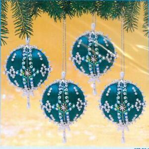 Sunrise Dark Teal Blue CALYPSO Set of 4 Beaded Sequin Ornaments Kit - NEW