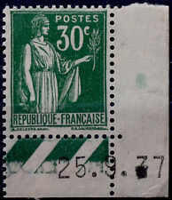 FRANCE N° 280 30c VERT TYPE PAIX COIN DATE NEUF SANS GOMME