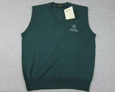 NEW Men's Bobby Jones Green Sweater Vest 100% Wool made in Italy S Mercedes