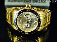 Invicta Men's 48mm PRO DIVER Scuba Chronograph Silver Dial 18K Gold IP SS Watch