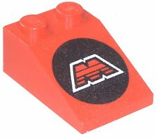 Missing lego brique 3298p68 Rouge Red Slope Brick 33 3 x 2 with MTron Logo Motif