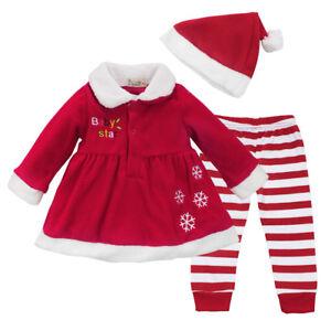 Baby Weihnachten Weihnachtsmann Cosplay Kostüm Top+Hose+Hut+Socken Outfit Sets